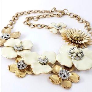 Stella and Dot Rare enamel cream&gold necklace